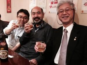 0426目黒前会津若松市議会議長と川名武蔵野市議と研修会後に乾杯